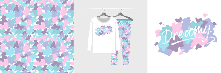 Seamless pattern and illustration set with abstract camouflage stains, Dreamy lettering