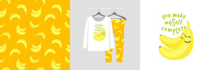 Seamless pattern and illustration set with bananas, You make myself complete