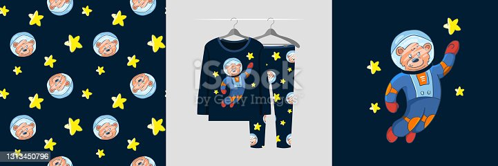 Seamless pattern and illustration set with cosmonaut bear