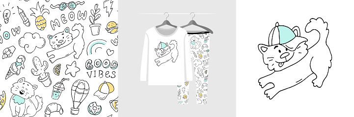 Seamless pattern and illustration set with hand drawn doodle style cats