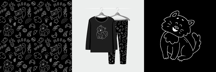 Seamless pattern and illustration set with hand drawn doodle style cat