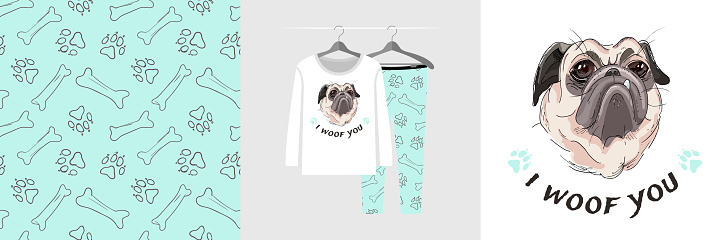 Seamless pattern and illustration set with hand drawn style pug, I woof you text