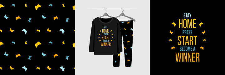 Seamless pattern and illustration set with quote Stay home Press start Become a winner