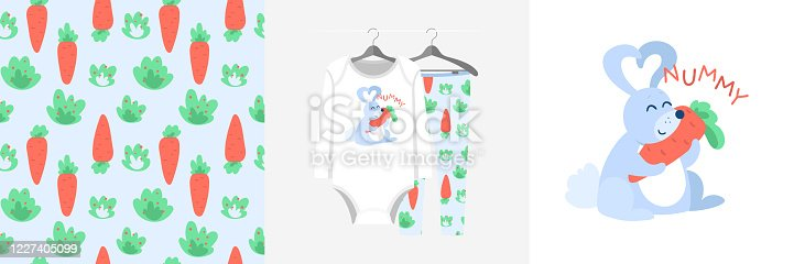 Seamless pattern and illustration set with rabbit hugs carrot, Nummy text