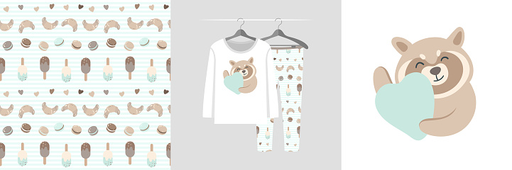 Seamless pattern and illustration set with raccoon hugs heart