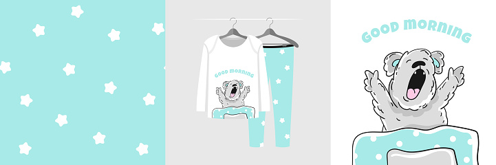 Seamless pattern and illustration with koala under the covers stretches and yawns