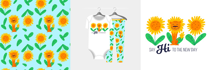 Seamless pattern and illustration with sunflowers and lion, text Say Hi to the New Day