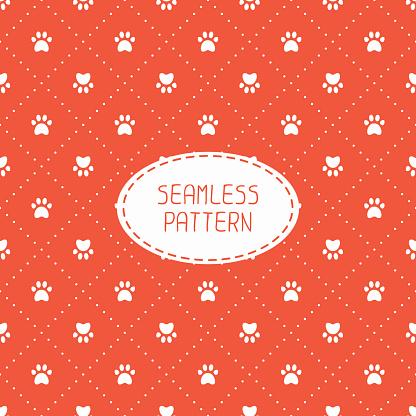 Seamless pattern. Animal footprints, cat, dog. Wrapping paper.  Paw prints.