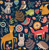 Animals in the forest. Seamless pattern,