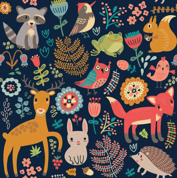 Seamless pattern, animals in the forest Animals in the forest. Seamless pattern, animal markings stock illustrations