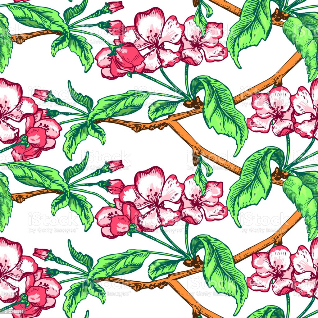 seamless pattern apple tree sketch stock vector art more images of Willow Tree seamless pattern apple tree sketch illustration