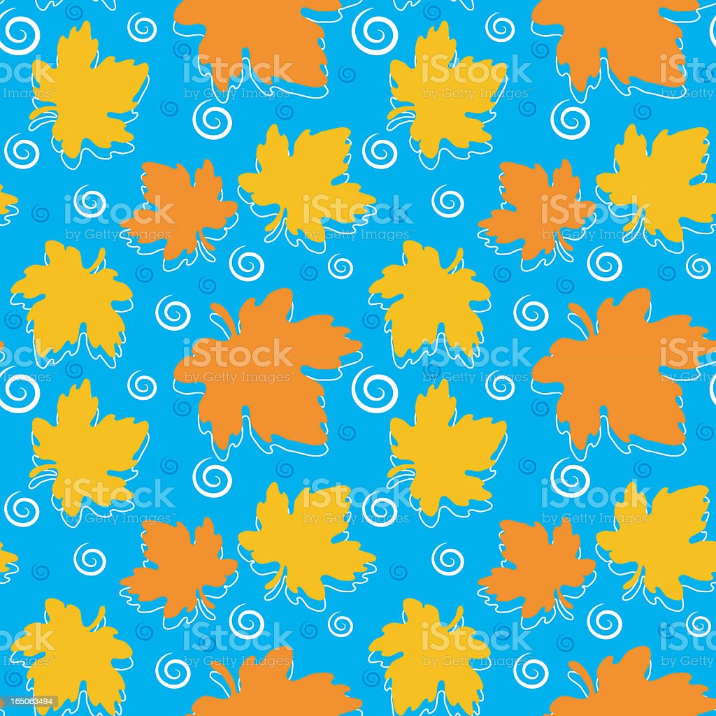 Seamless pattern - Autumn leaves and raindrops royalty-free stock vector art