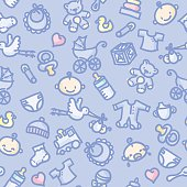 seamless background with hand drawn baby boy illustrations. just drop into your illustrator swatches and use as a tiled fill. more similar images: