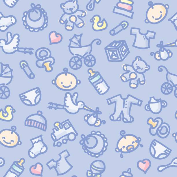 seamless pattern: baby boy in color seamless background with hand drawn baby boy illustrations. just drop into your illustrator swatches and use as a tiled fill. more similar images: infant bodysuit stock illustrations