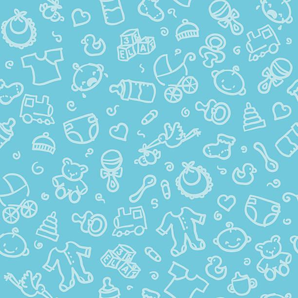 stockillustraties, clipart, cartoons en iconen met seamless pattern: baby boy - background baby