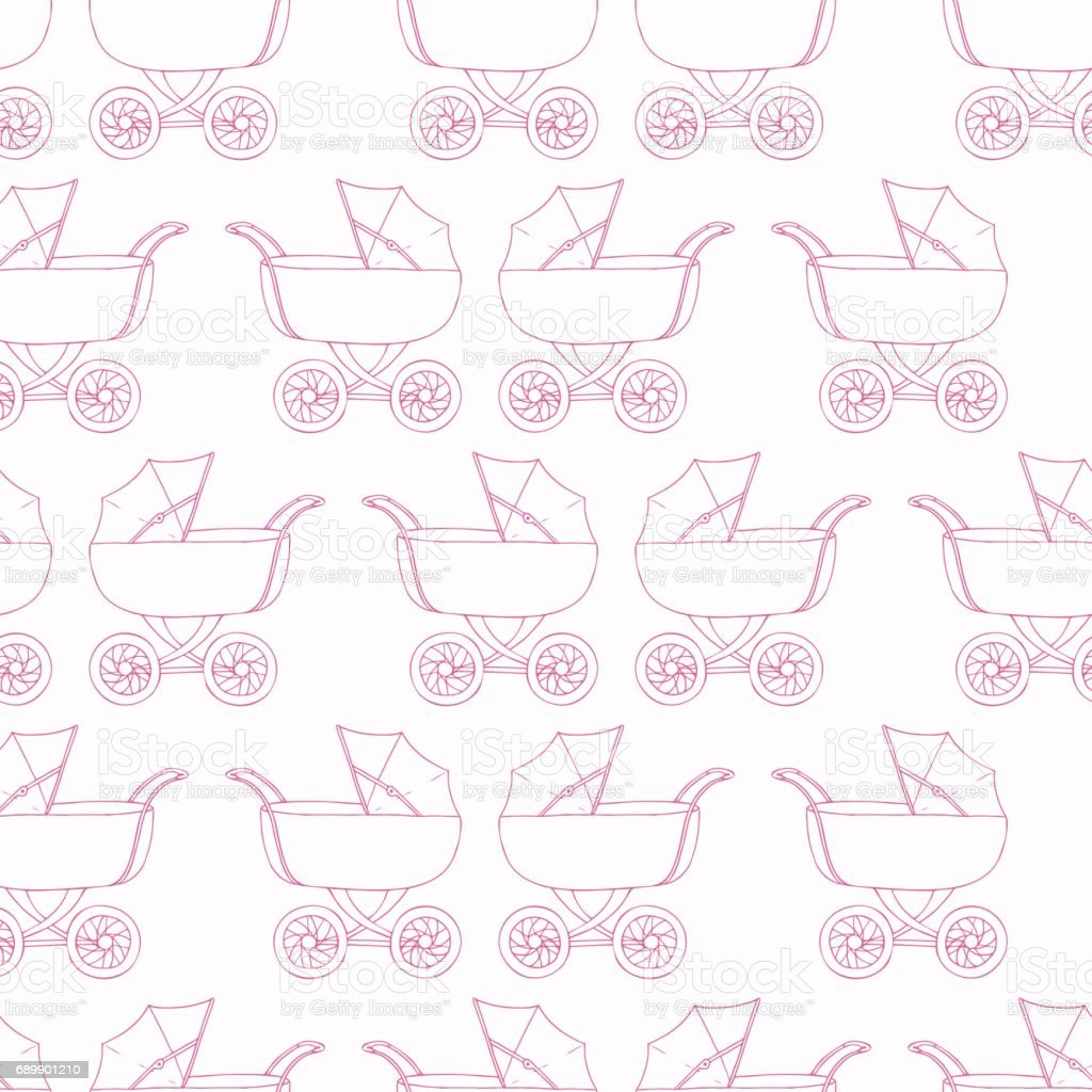 Seamless Pattern Baby Carriage For Doughter Girl Wallpaper Pink Textile Royalty