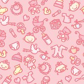 seamless background with hand drawn baby girl illustrations. just drop into your illustrator swatches and use as a tiled fill. other similar images:
