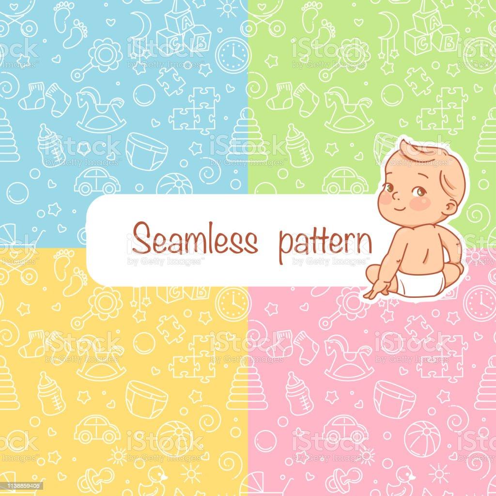 Teste padrão sem emenda. Objetos do bebê - Vetor de Adolescente royalty-free