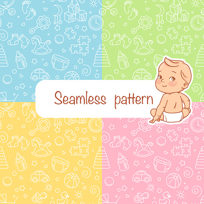 Seamless pattern. Baby objects