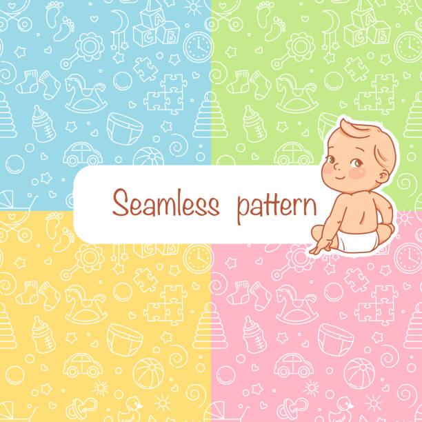 ilustrações, clipart, desenhos animados e ícones de teste padrão sem emenda. objetos do bebê - bebês