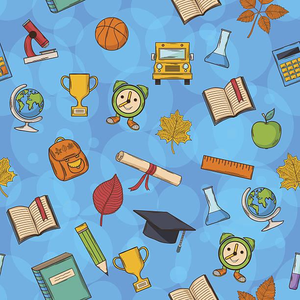 bezszwowe wzór powrót do szkoły na niebieskim tle - back to school stock illustrations