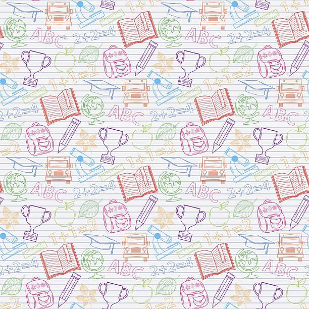 bezszwowe wzór powrót do szkoły na notebooka arkusz - back to school stock illustrations