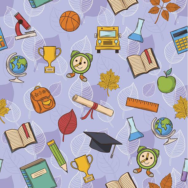 bezszwowe wzór powrót do szkoły - back to school stock illustrations