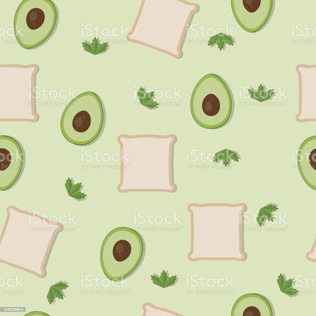 Seamless pattern background, avocado toast vector art illustration