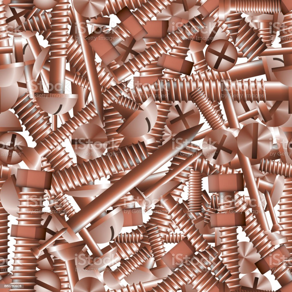 nahtlose muster hintergrund kupferne befestigungen schrauben bolzen mutter und nagel lizenzfreies nahtlose - Nagel Muster