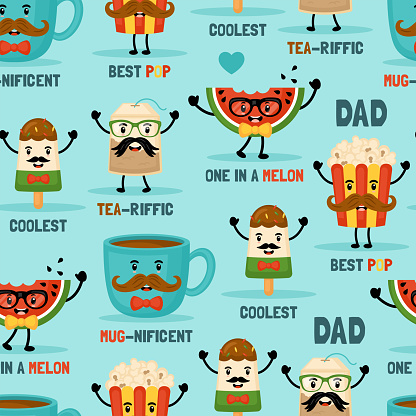 Seamless pattern background for Father's day with cute funny food characters.