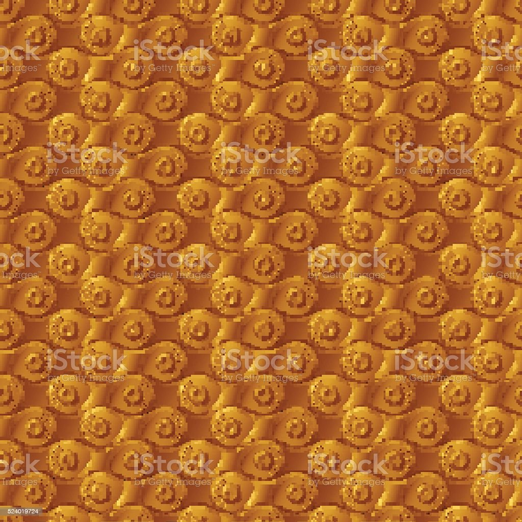 Seamless pattern, background, golden metal bicycle chain vector art illustration