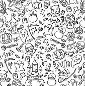 Seamless pattern background Halloween kids hand drawing set illustration isolated on white background