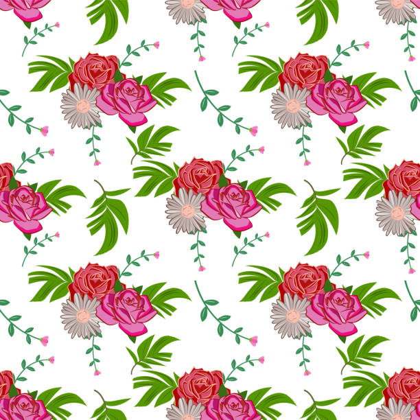 Seamless Pattern Background in Floral Tropical Flower Flat Style Vector Design vector art illustration