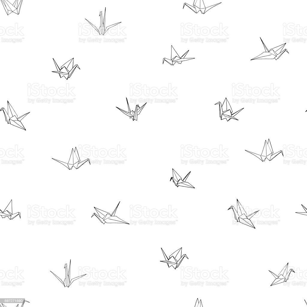 Seamless pattern background of hand drawn doodle crane birds Lizenzfreies seamless pattern background of hand drawn doodle crane birds stock vektor art und mehr bilder von asiatisch