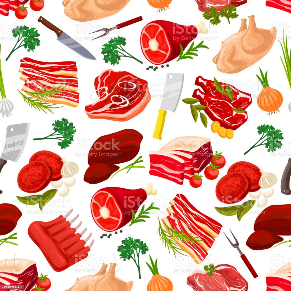 Seamless pattern background of meat products vector art illustration