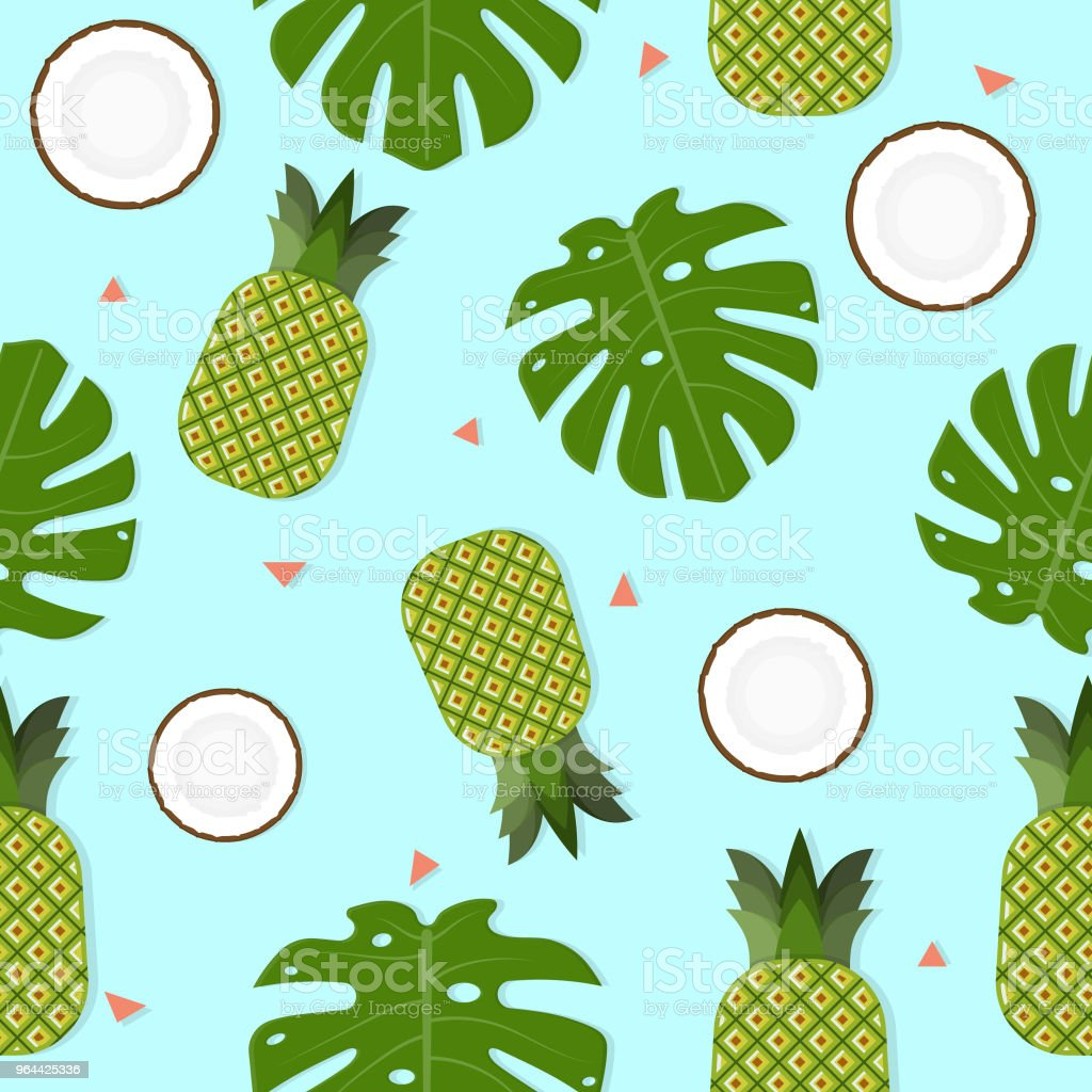Coco, abacaxi e sem costura de fundo - Vetor de Abacaxi royalty-free