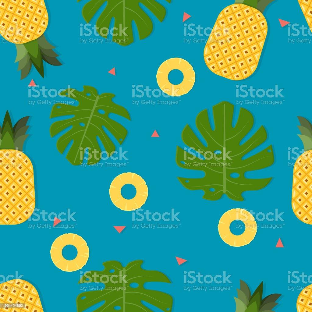 Folha de padrão sem costura fundo, abacaxi e monstrea-de-Adão - Vetor de Abacaxi royalty-free
