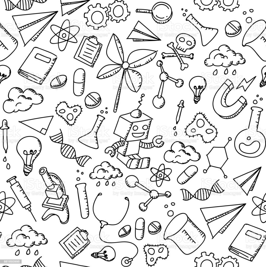 science background pattern drawing equipment hand illustration vector seamless cartoon atom isolated child chemical thailand
