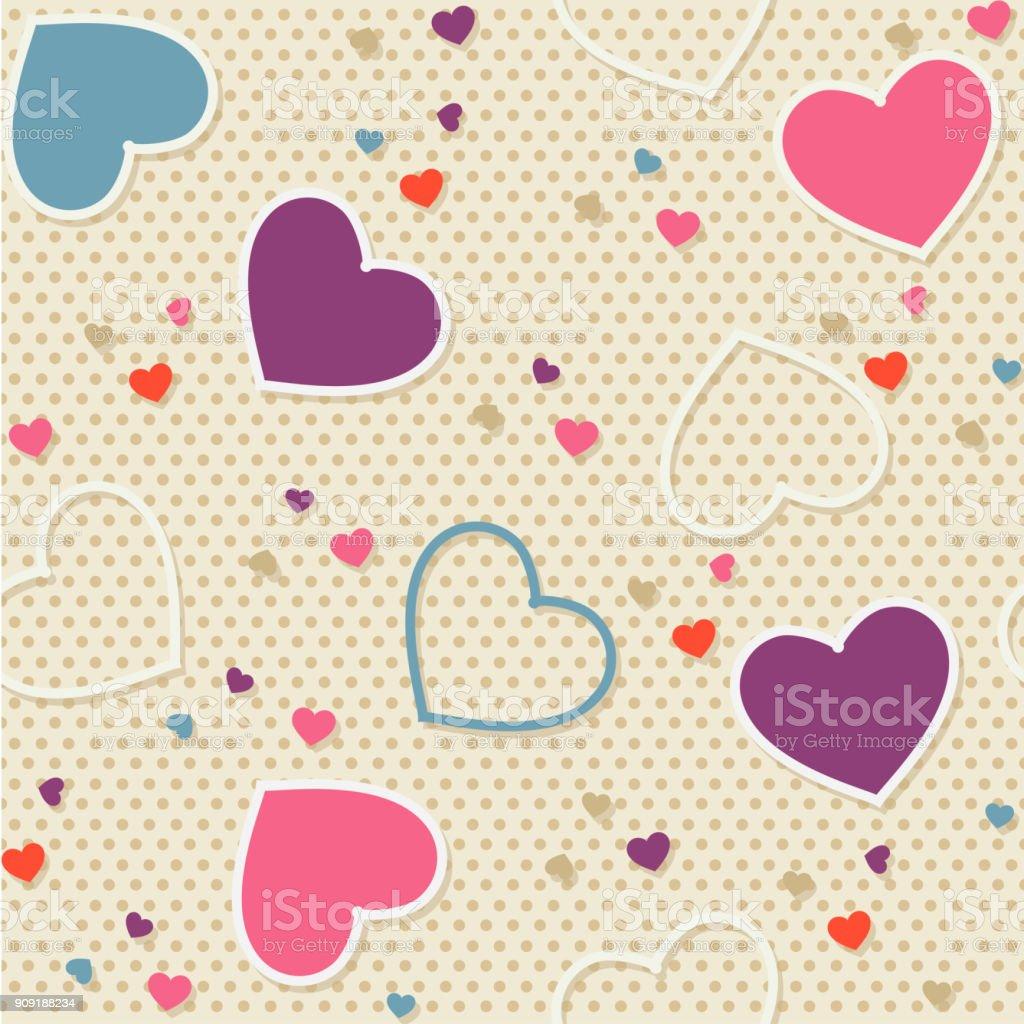 Seamless Pattern Background Valentine Heart Vector Illustration