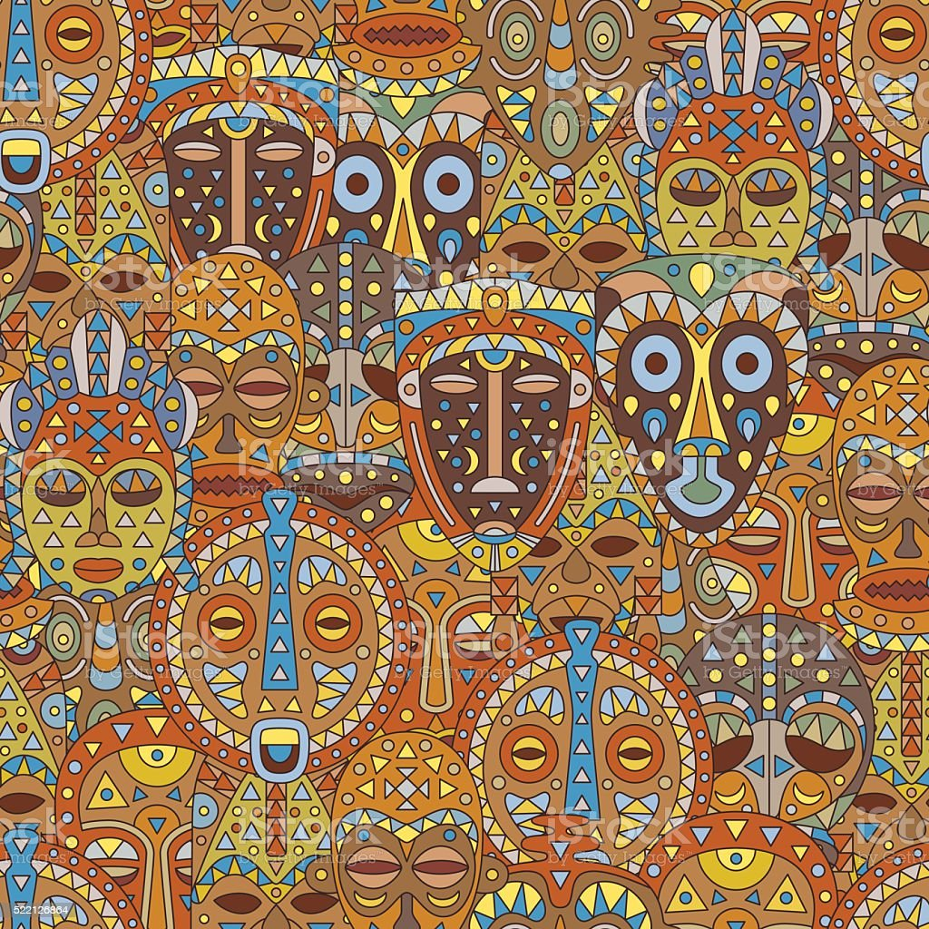 Seamless pattern. Background with different ethnic masks vector art illustration