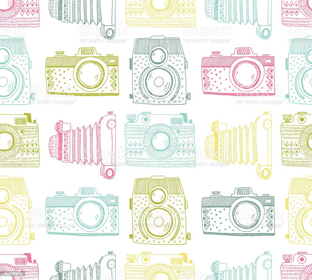 Seamless Pattern Background With Hand Drawn Ornamental Retro Cameras Royalty Free