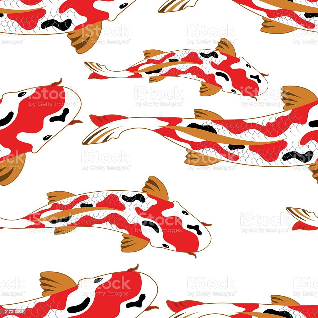 Seamless pattern background with koi fish carps stock for Koi fish vector