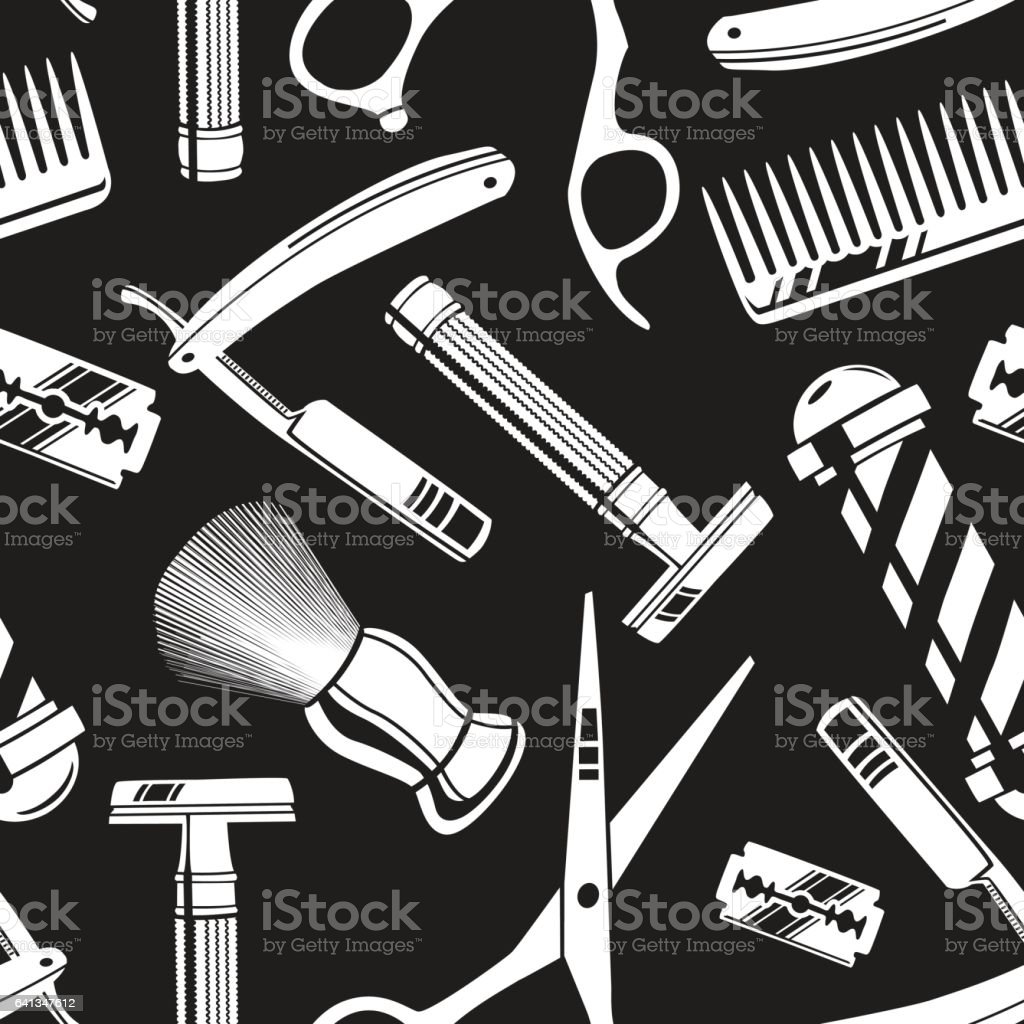 Super Seamless Pattern Background With Vintage Barber Shop Tools Stock  VH42