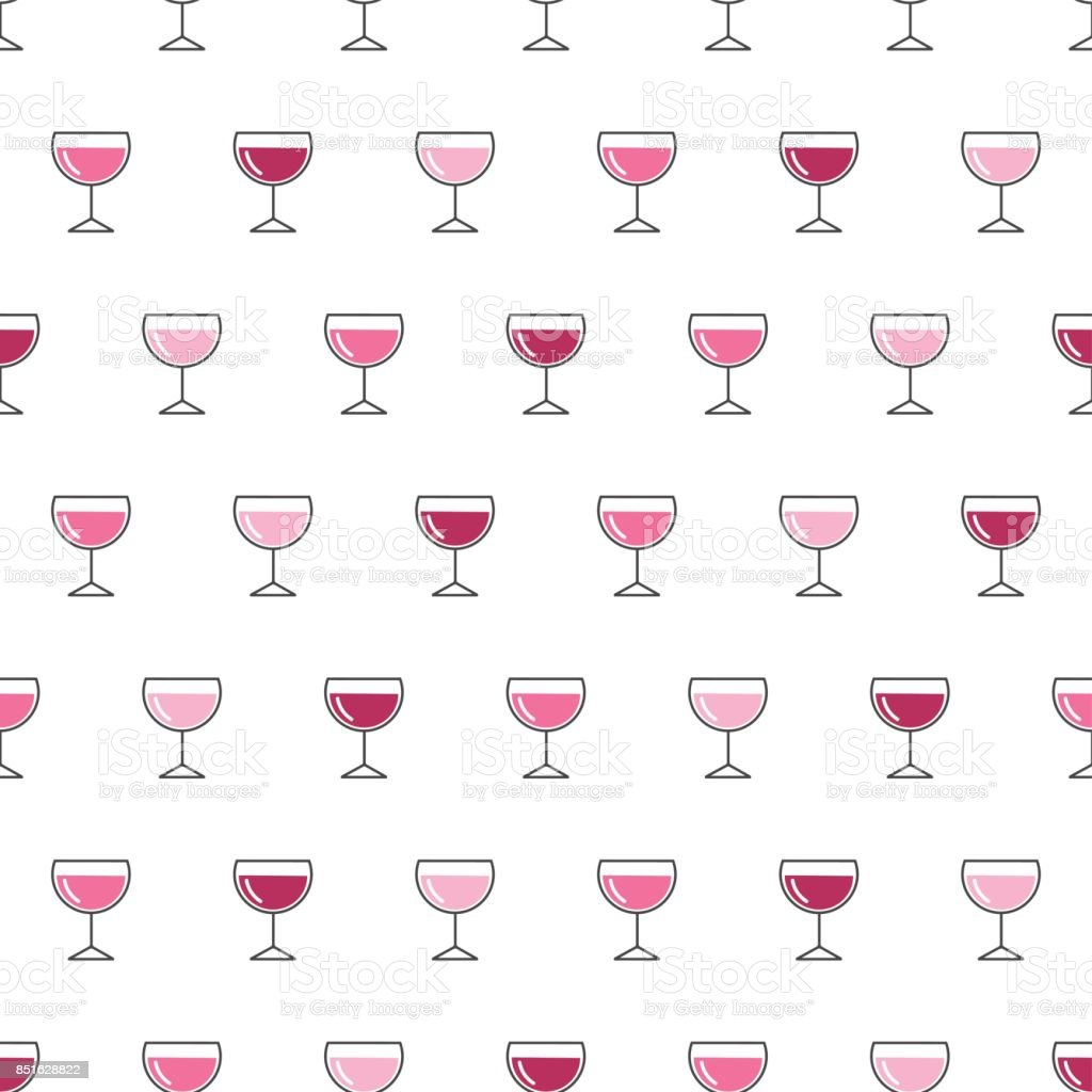 Seamless pattern background with wine glasses. vector art illustration
