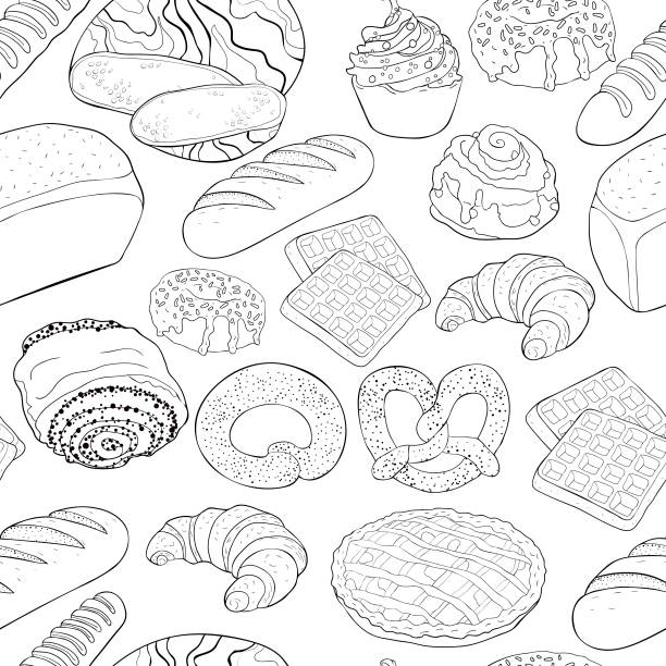 seamless pattern bakery products in the assortment. vector illustration coloring seamless pattern bakery products in the assortment  vector illustration pastry dough stock illustrations