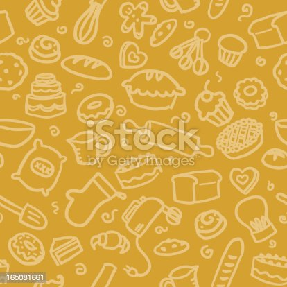 seamless background with hand drawn baking illustrations. just drop into your illustrator swatches and use as a tiled fill. more similar images: