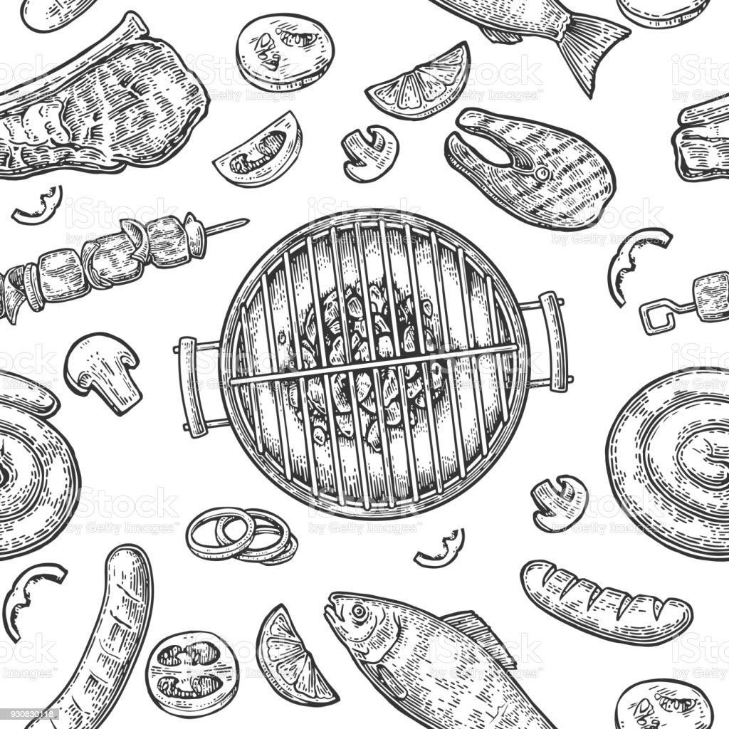 Seamless Pattern Barbecue Grill Top View Charcoal Sausage Fish