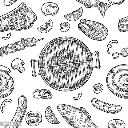 Seamless pattern barbecue grill. Top view charcoal, sausage, fish, steak.
