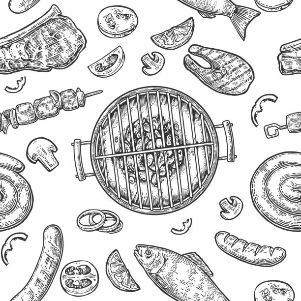 seamless pattern barbecue grill. top view charcoal, sausage, fish, steak. - grilling stock illustrations