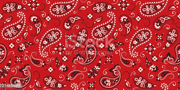 istock Seamless pattern based on ornament paisley Bandana Print. Vector ornament paisley Bandana Print. Silk neck scarf or kerchief square pattern design style, best motive for print on fabric or papper 1148326662